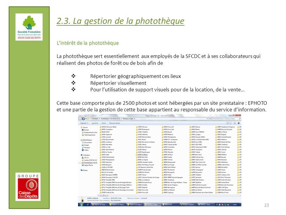2.3. La gestion de la photothèque