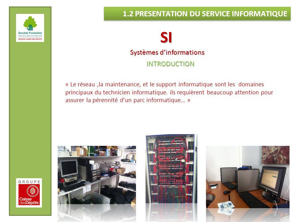 SI 1.2 PRESENTATION DU SERVICE INFORMATIQUE Systèmes d'informations