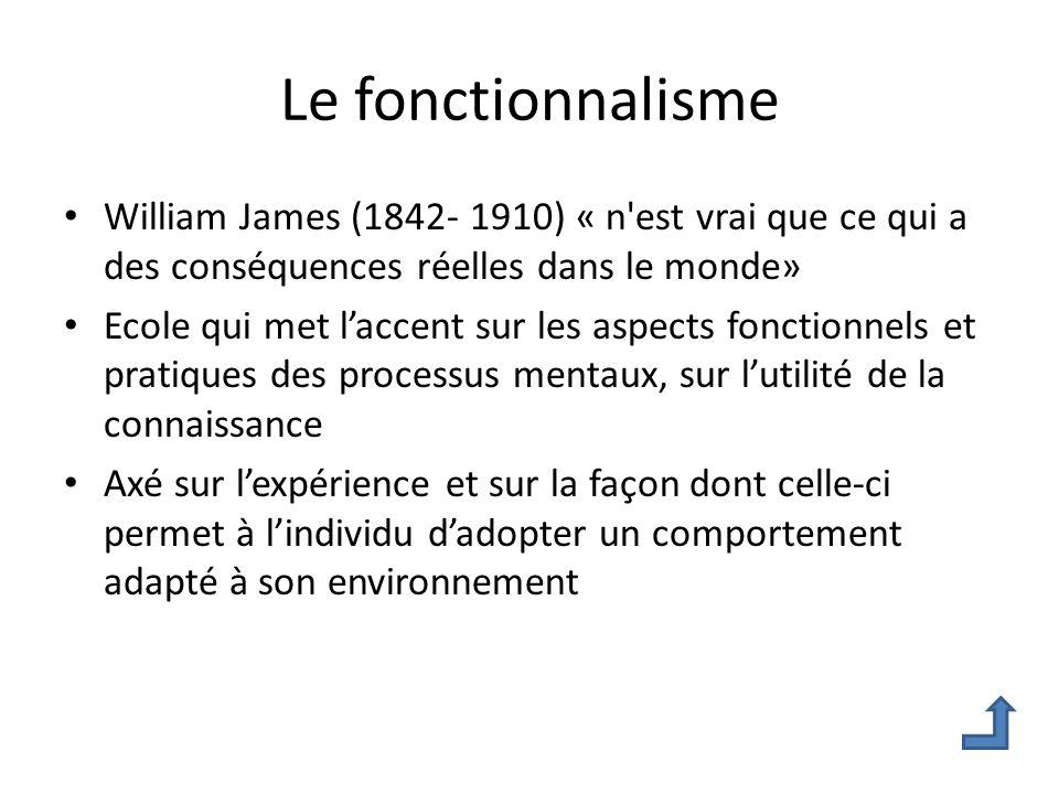 Le fonctionnalisme William James (1842- 1910) « n est vrai que ce qui a des conséquences réelles dans le monde»