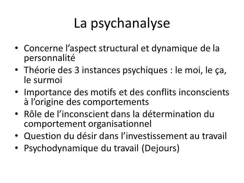 La psychanalyse Concerne l'aspect structural et dynamique de la personnalité. Théorie des 3 instances psychiques : le moi, le ça, le surmoi.