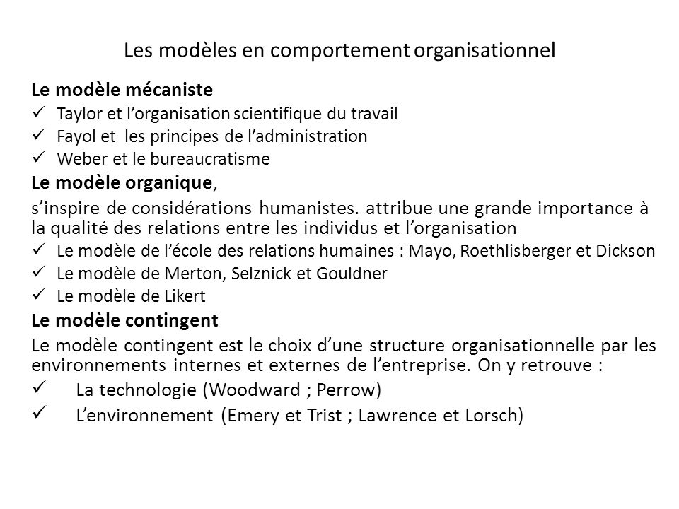 Les modèles en comportement organisationnel