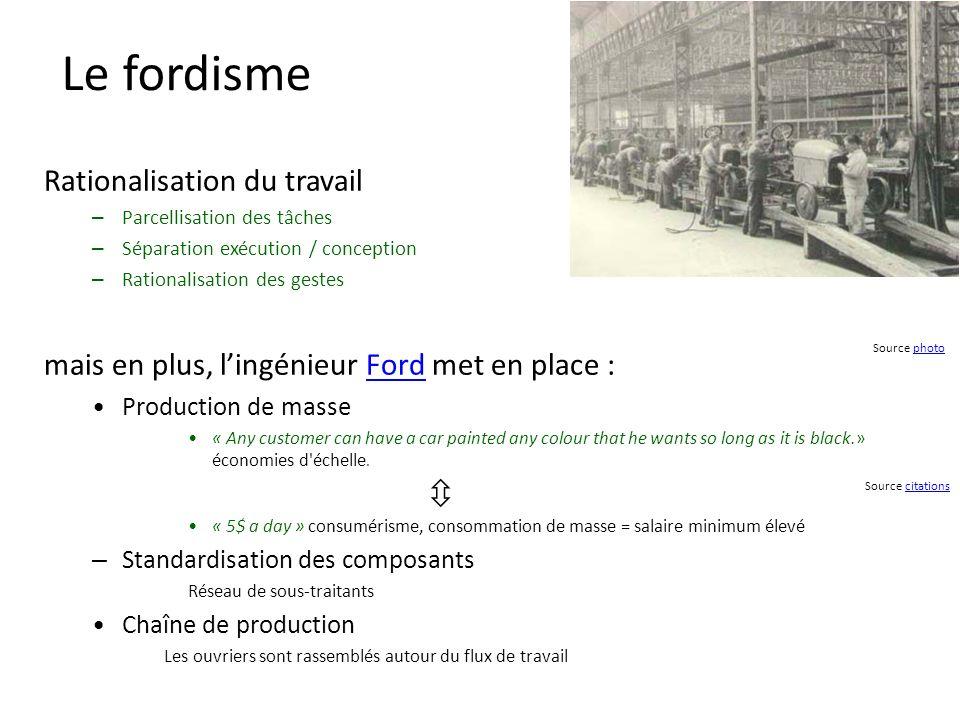 Le fordisme Rationalisation du travail
