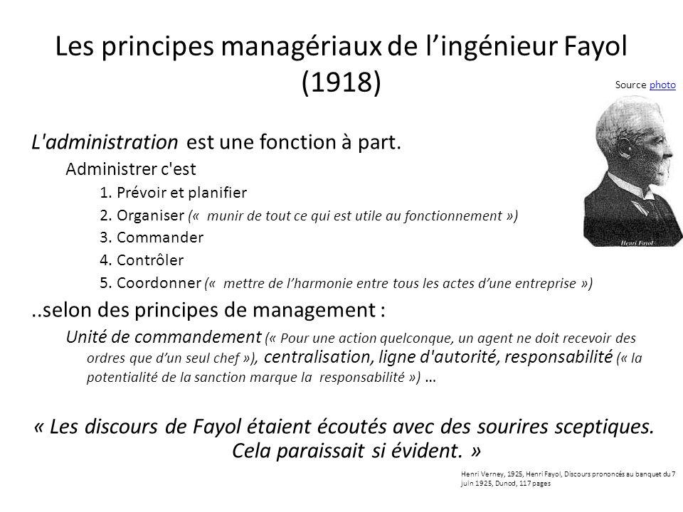 Les principes managériaux de l'ingénieur Fayol (1918)