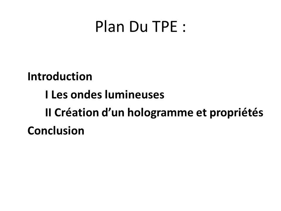 Plan Du TPE : Introduction I Les ondes lumineuses II Création d'un hologramme et propriétés Conclusion