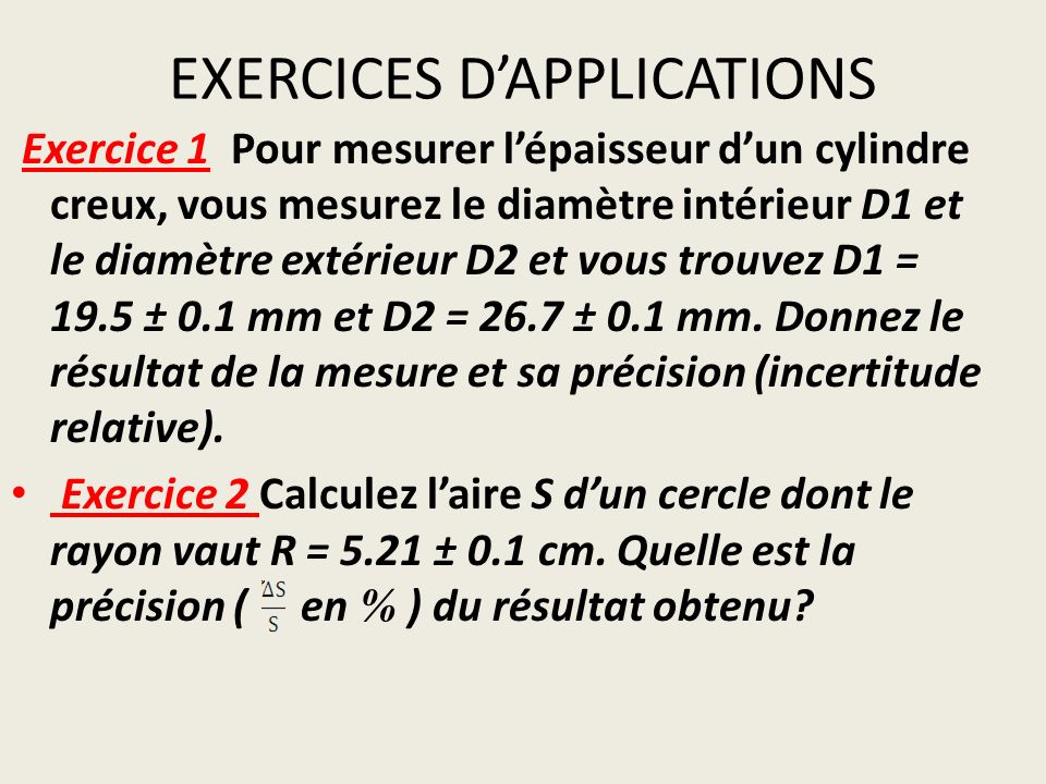 EXERCICES D'APPLICATIONS
