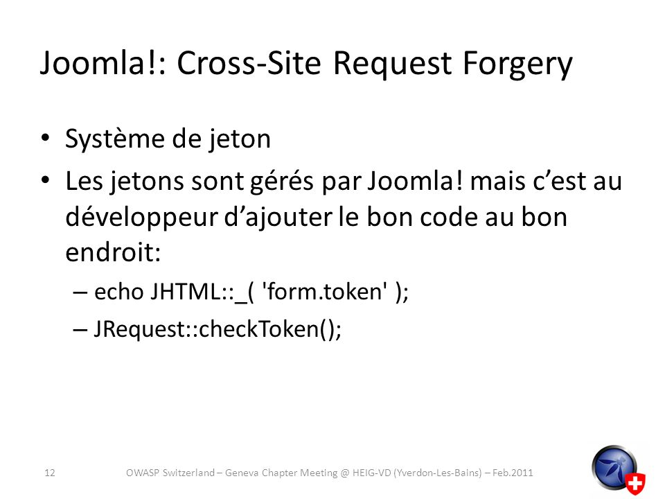 Joomla!: Cross-Site Request Forgery