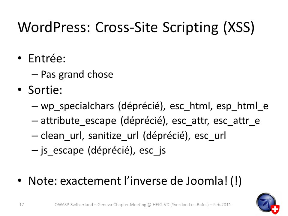 WordPress: Cross-Site Scripting (XSS)