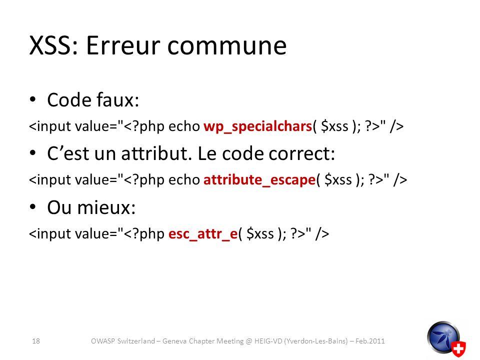 XSS: Erreur commune Code faux: C'est un attribut. Le code correct: