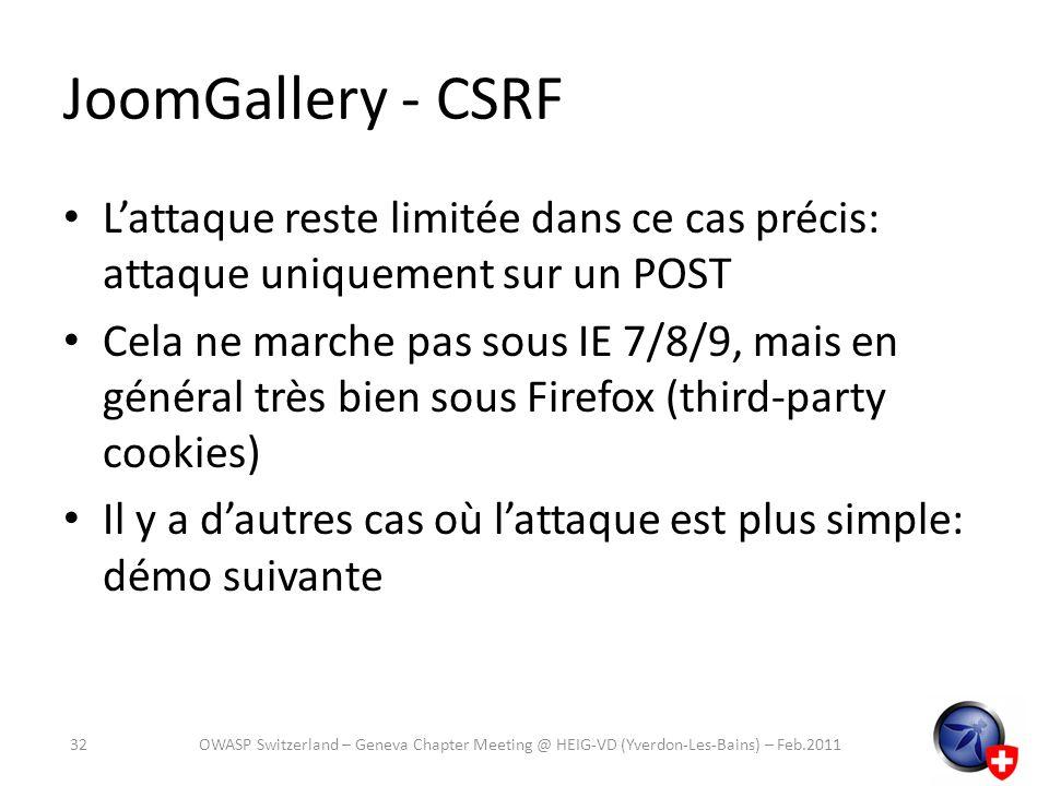 JoomGallery - CSRF L'attaque reste limitée dans ce cas précis: attaque uniquement sur un POST.