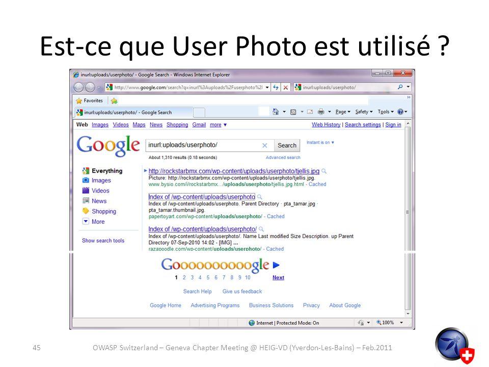 Est-ce que User Photo est utilisé