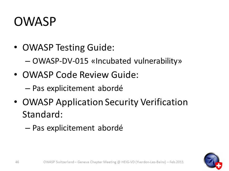 OWASP OWASP Testing Guide: OWASP Code Review Guide: