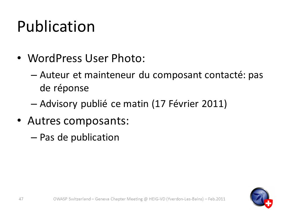 Publication WordPress User Photo: Autres composants: