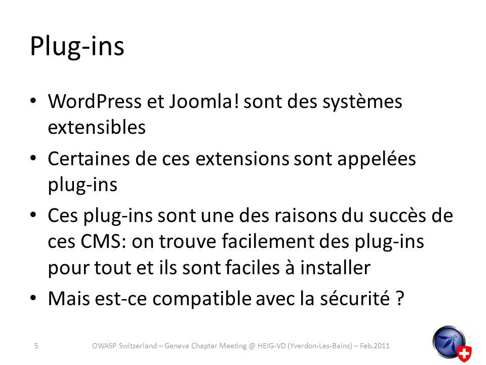Plug-ins WordPress et Joomla! sont des systèmes extensibles
