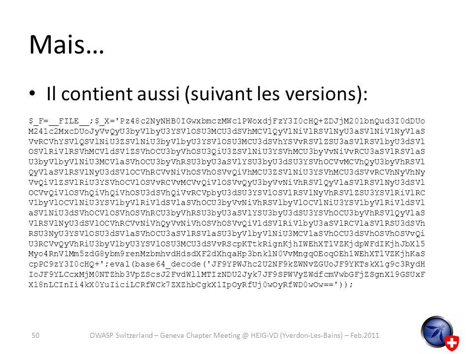 Mais… Il contient aussi (suivant les versions):