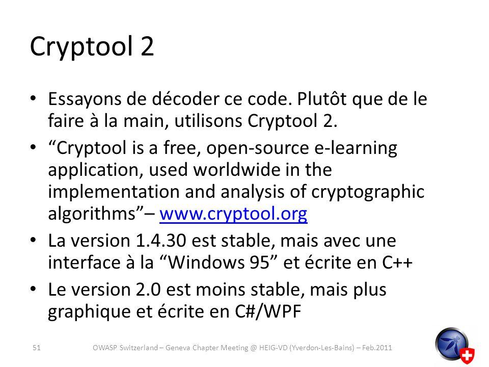 Cryptool 2 Essayons de décoder ce code. Plutôt que de le faire à la main, utilisons Cryptool 2.