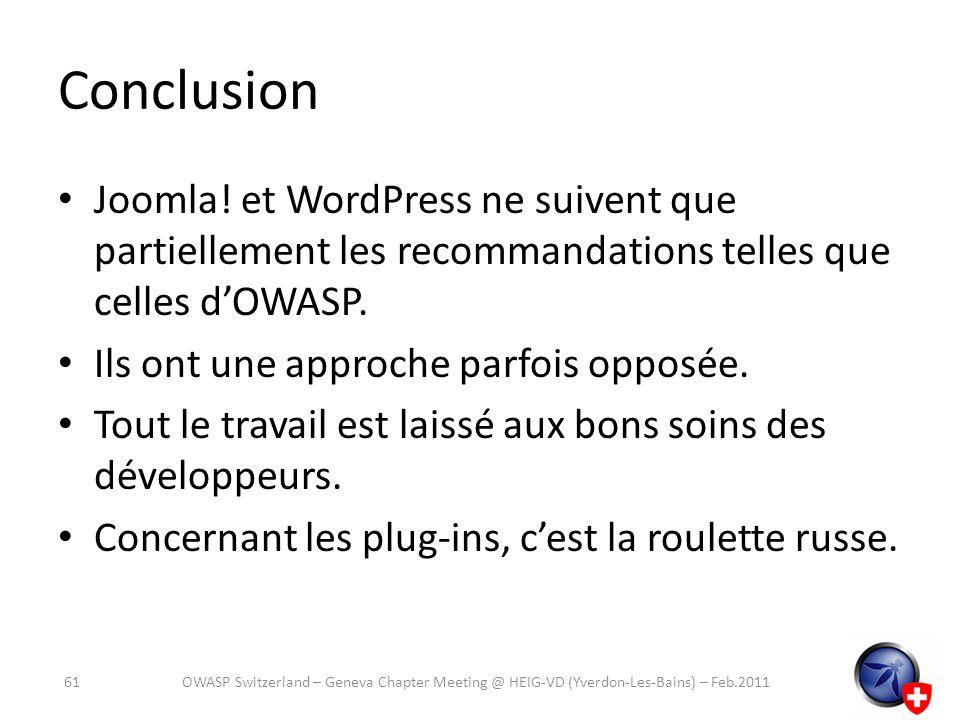 Conclusion Joomla! et WordPress ne suivent que partiellement les recommandations telles que celles d'OWASP.