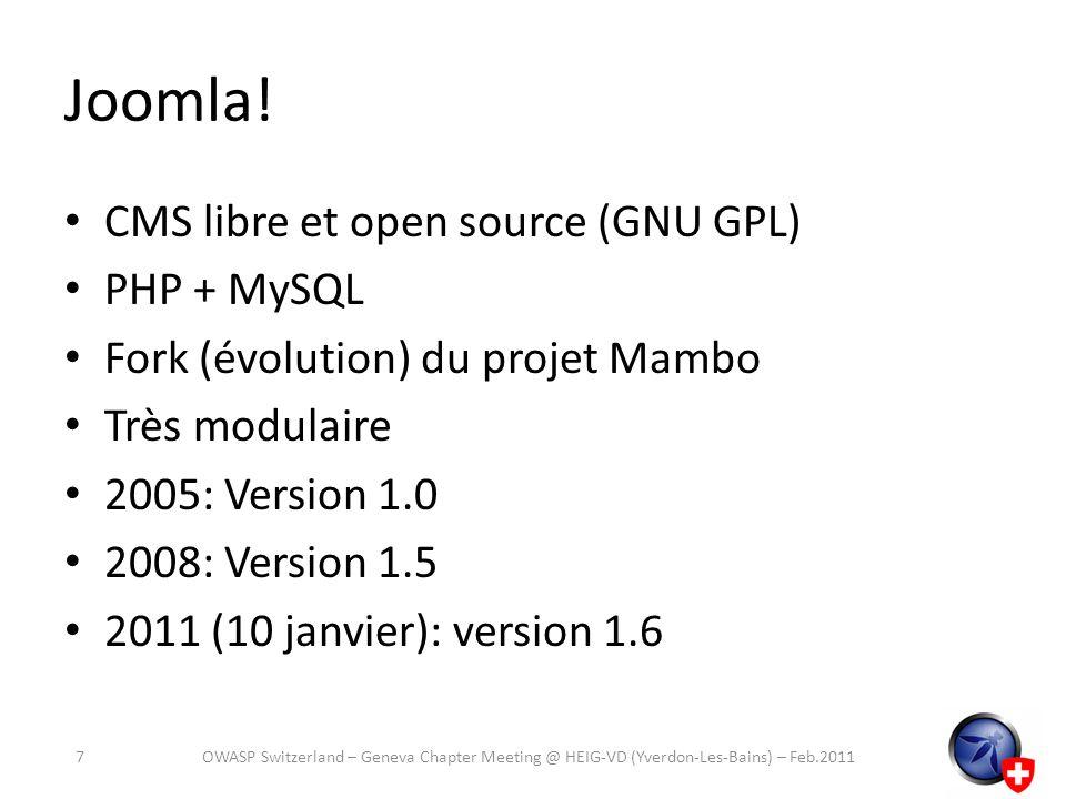 Joomla! CMS libre et open source (GNU GPL) PHP + MySQL
