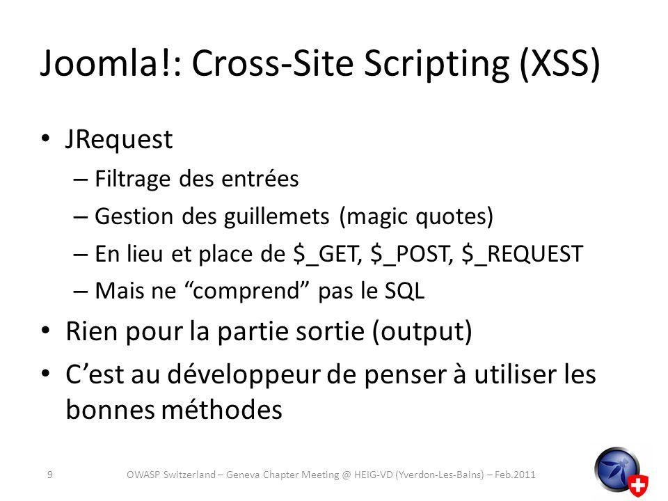 Joomla!: Cross-Site Scripting (XSS)