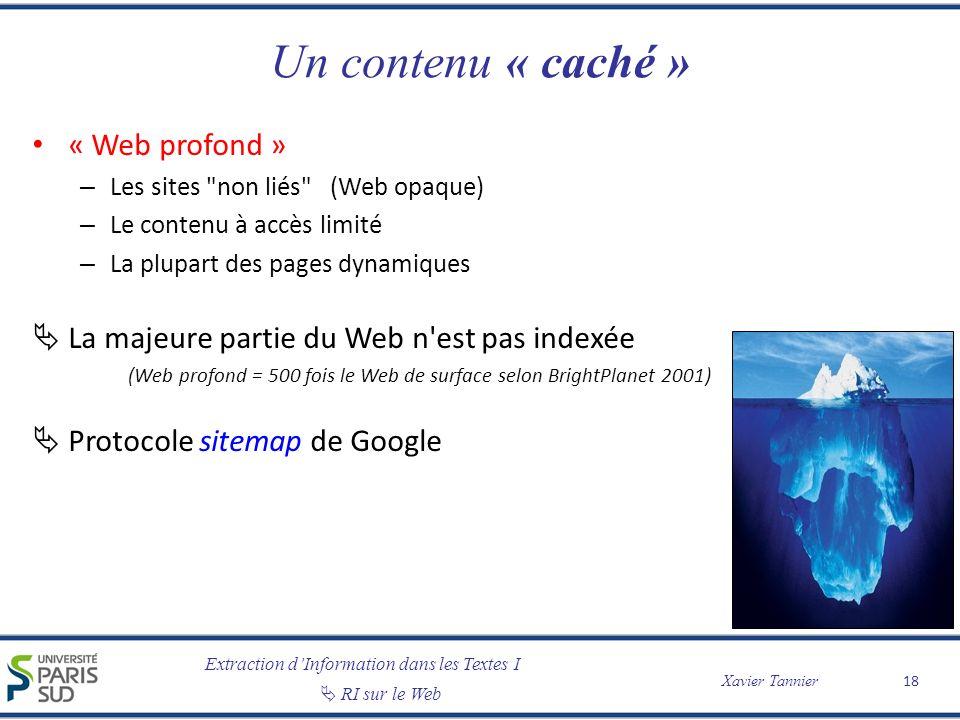 Un contenu « caché » « Web profond »