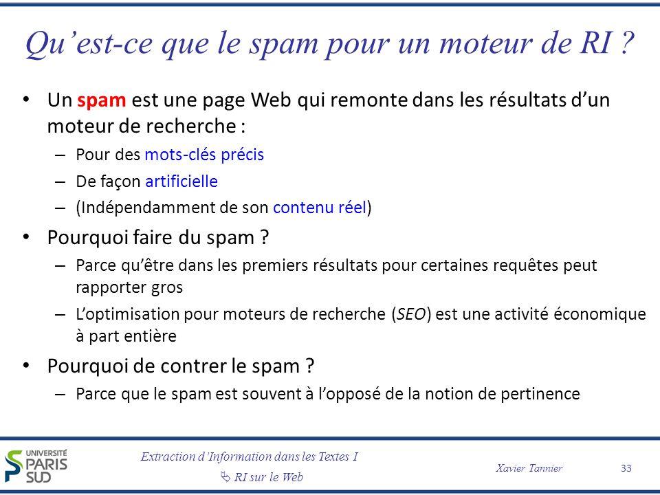 Qu'est-ce que le spam pour un moteur de RI