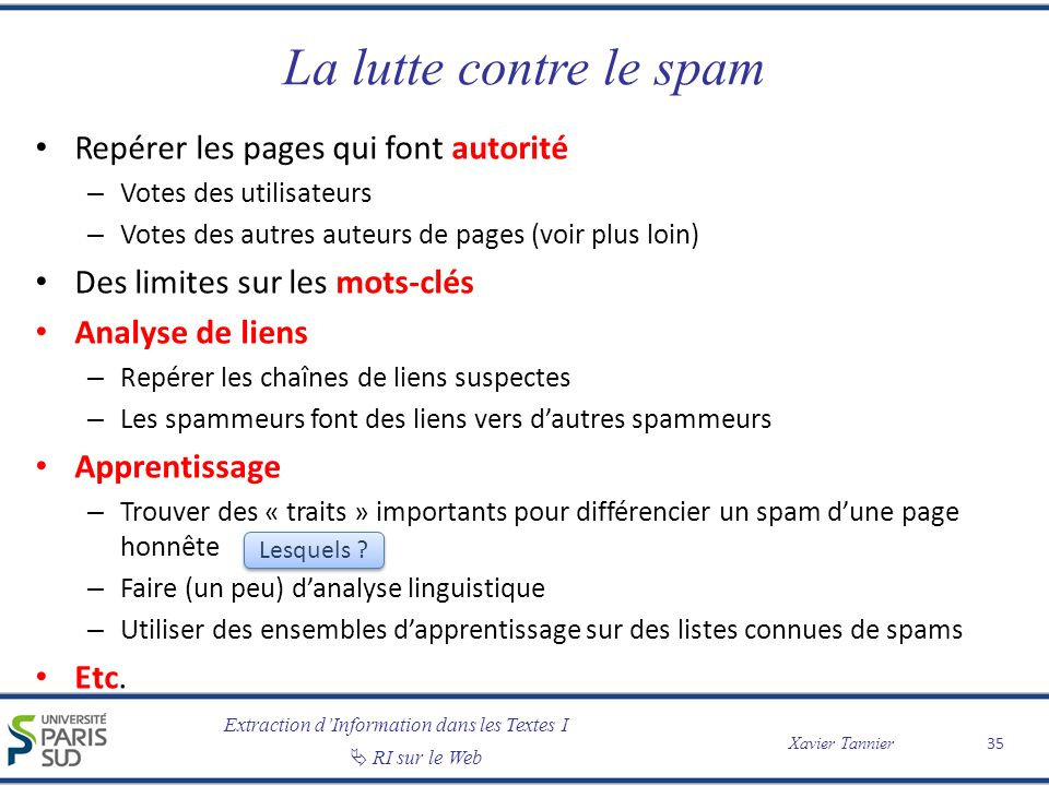 La lutte contre le spam Repérer les pages qui font autorité