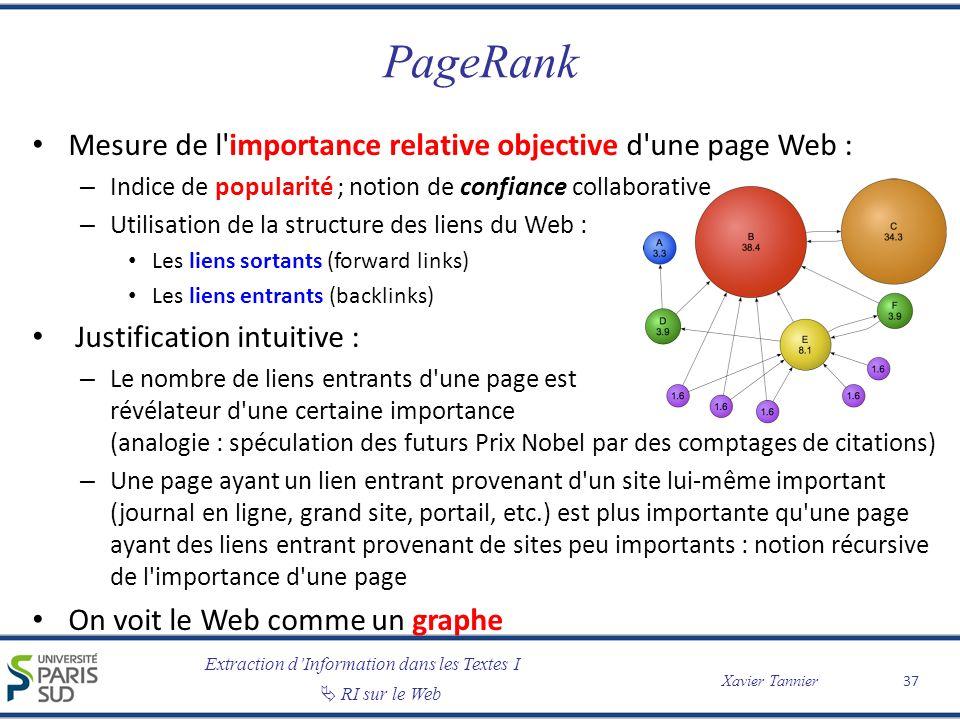 PageRank Mesure de l importance relative objective d une page Web :