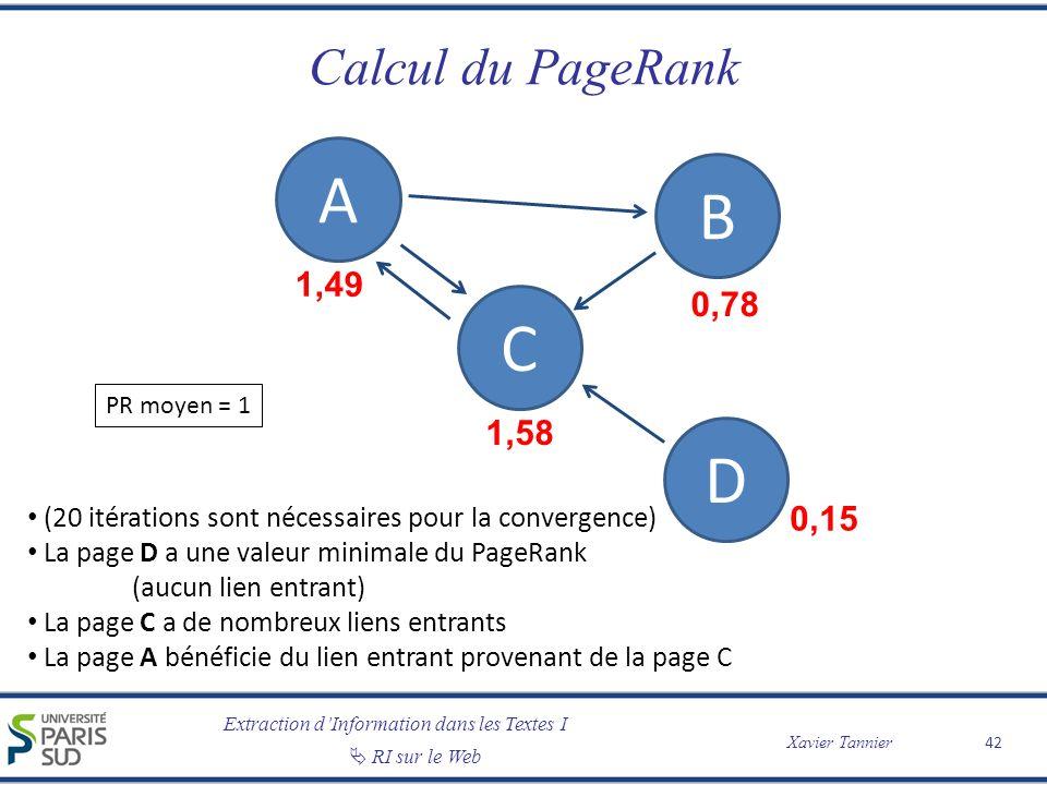 A B C D Calcul du PageRank 1,49 0,78 1,58 0,15