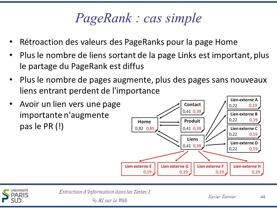 PageRank : cas simple Rétroaction des valeurs des PageRanks pour la page Home.