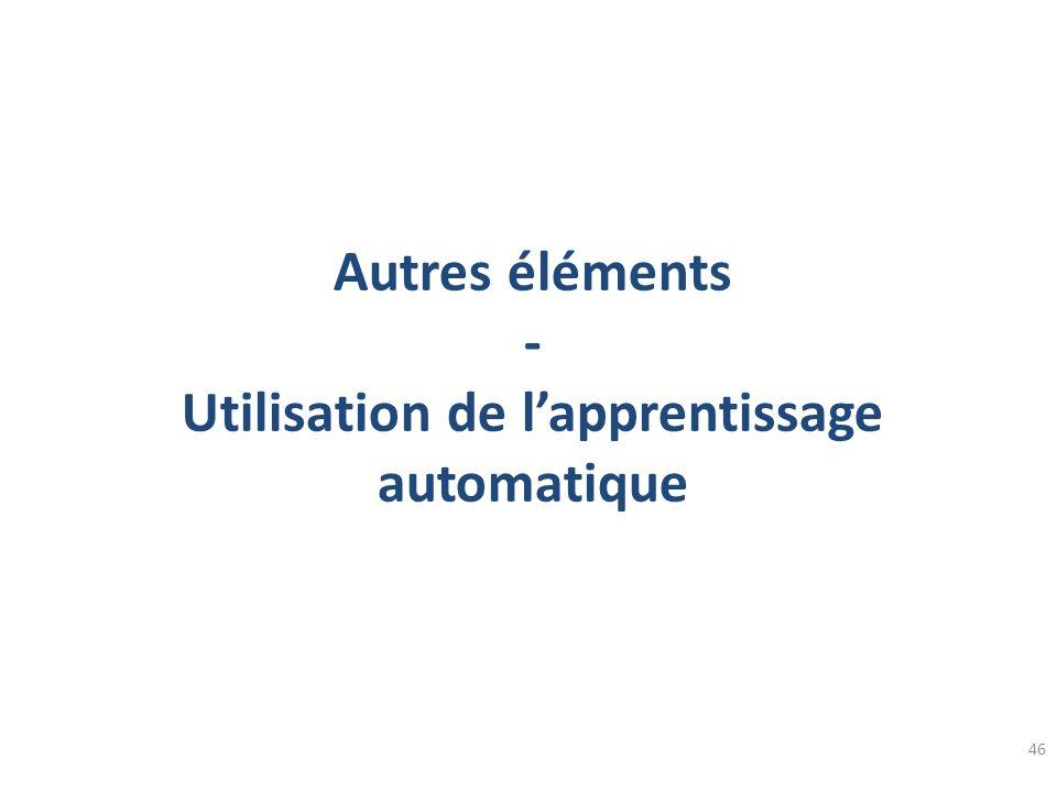 Autres éléments - Utilisation de l'apprentissage automatique