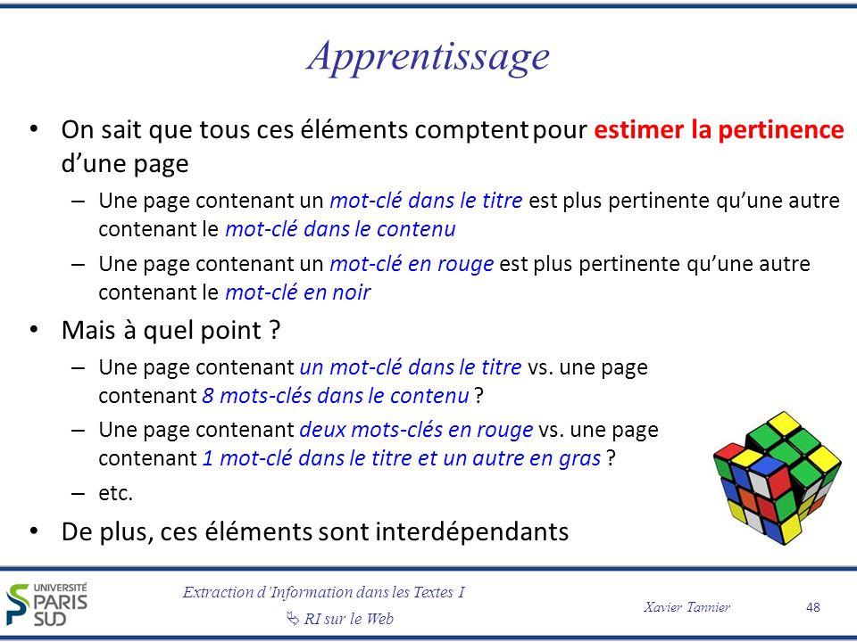Apprentissage On sait que tous ces éléments comptent pour estimer la pertinence d'une page.