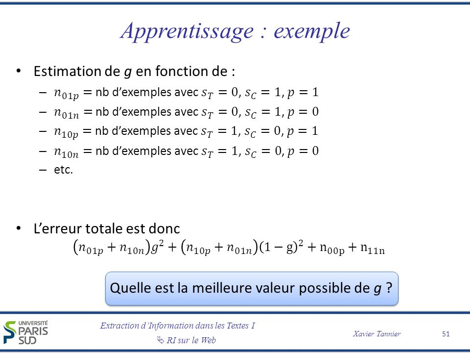 Apprentissage : exemple