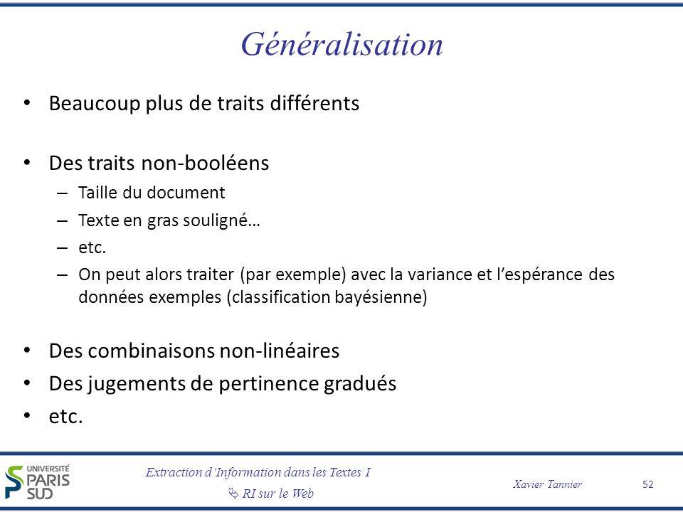 Généralisation Beaucoup plus de traits différents