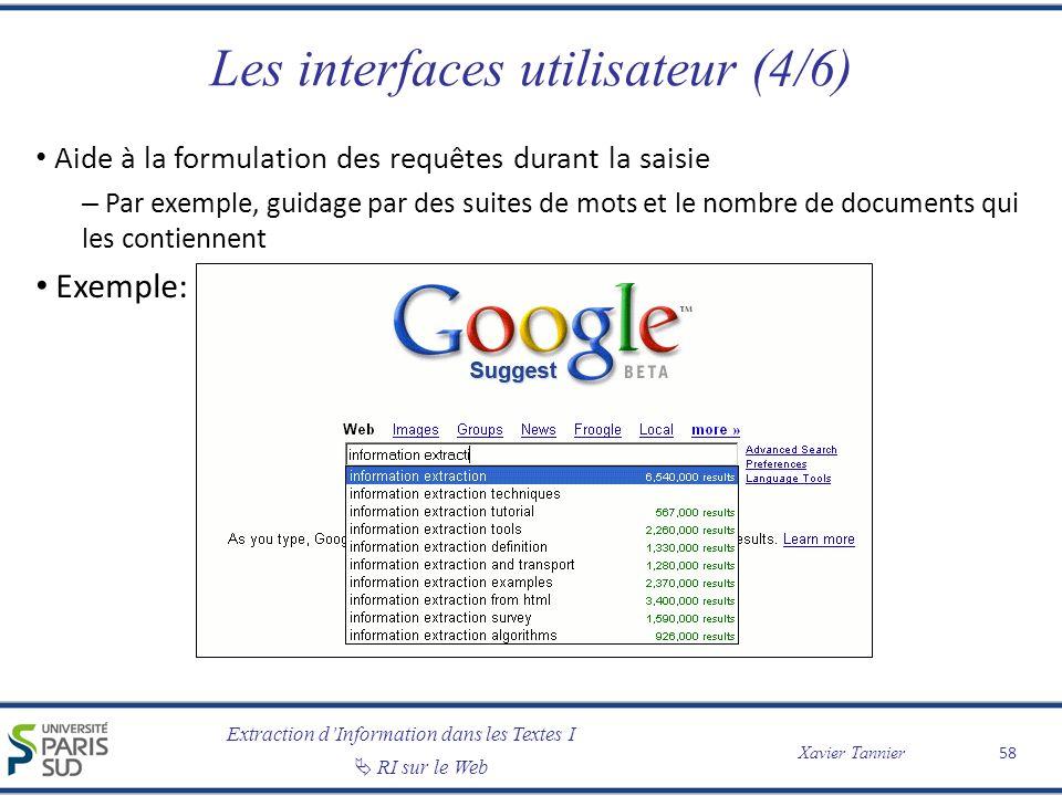 Les interfaces utilisateur (4/6)