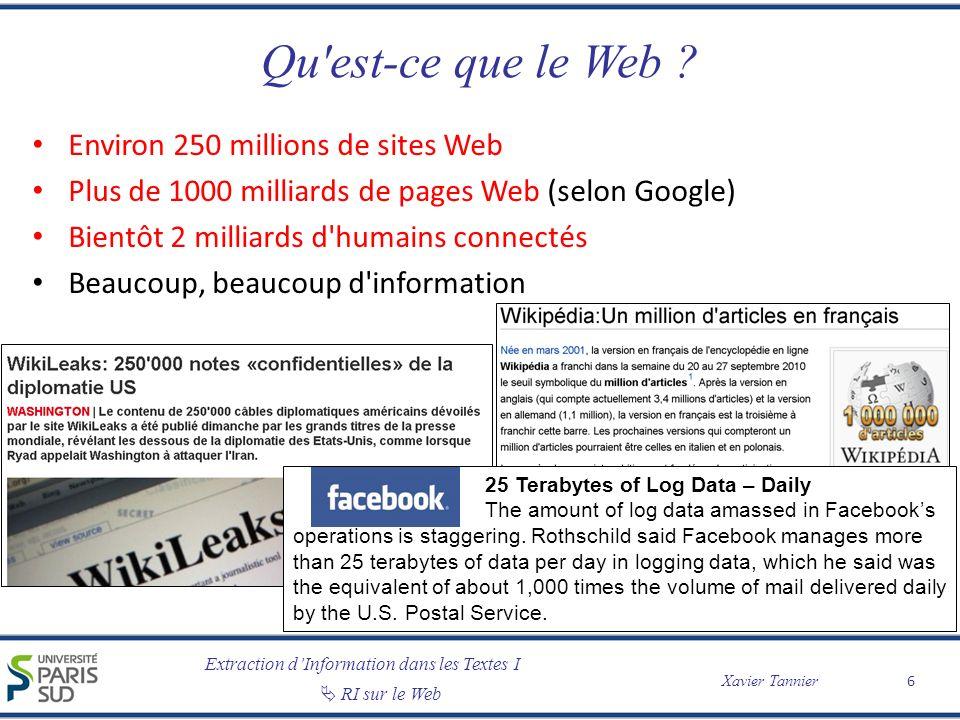Qu est-ce que le Web Environ 250 millions de sites Web