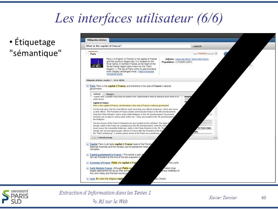 Les interfaces utilisateur (6/6)