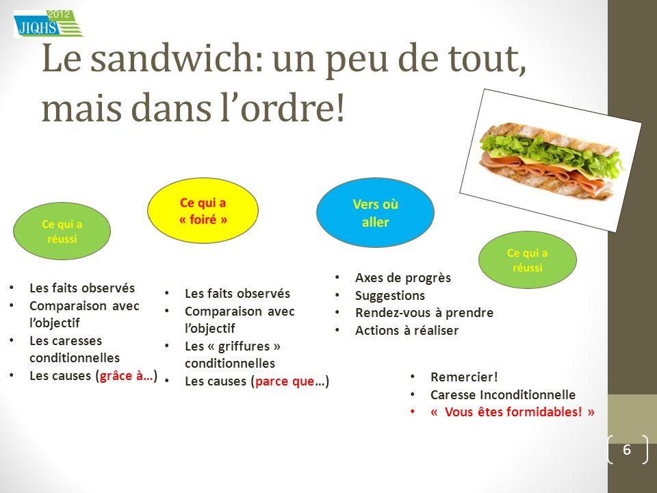 Le sandwich: un peu de tout, mais dans l'ordre!