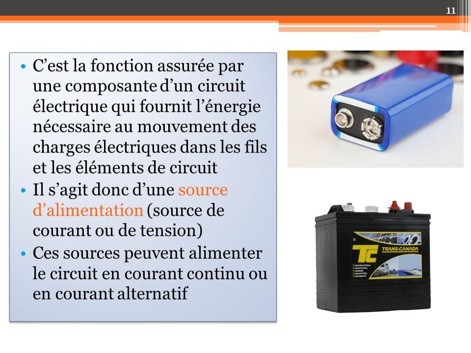 C'est la fonction assurée par une composante d'un circuit électrique qui fournit l'énergie nécessaire au mouvement des charges électriques dans les fils et les éléments de circuit