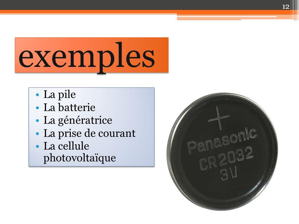 exemples La pile La batterie La génératrice La prise de courant