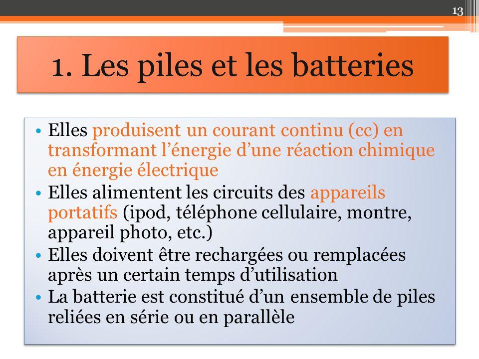 1. Les piles et les batteries