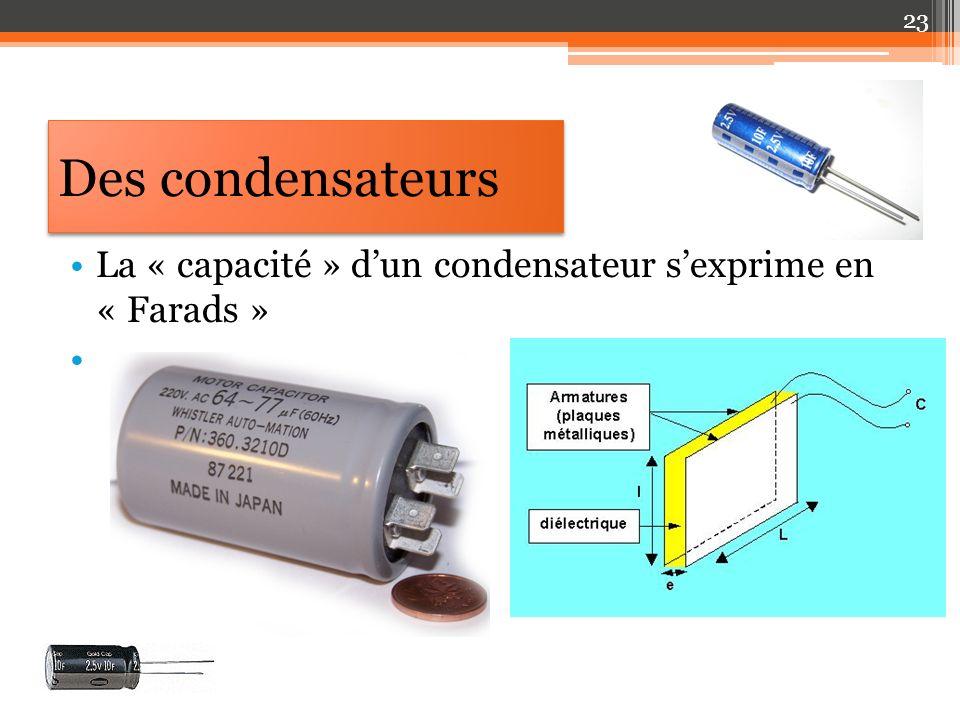 Des condensateurs La « capacité » d'un condensateur s'exprime en « Farads »