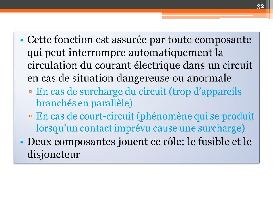 Deux composantes jouent ce rôle: le fusible et le disjoncteur