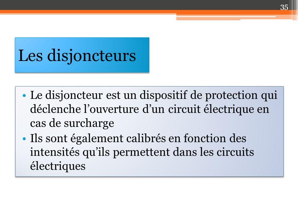 Les disjoncteurs Le disjoncteur est un dispositif de protection qui déclenche l'ouverture d'un circuit électrique en cas de surcharge.