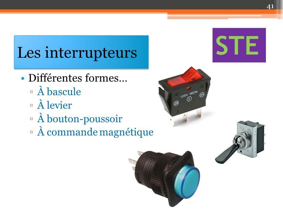 STE Les interrupteurs Différentes formes… À bascule À levier