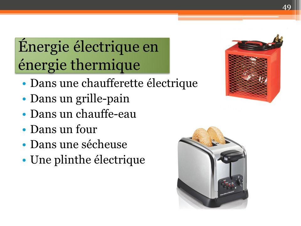 Énergie électrique en énergie thermique