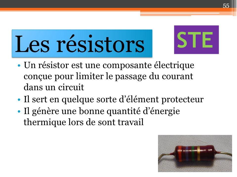 Les résistors Un résistor est une composante électrique conçue pour limiter le passage du courant dans un circuit.
