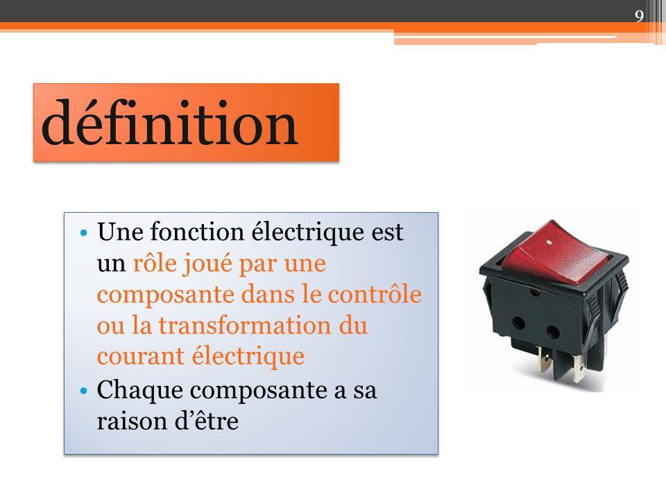 définition Une fonction électrique est un rôle joué par une composante dans le contrôle ou la transformation du courant électrique.