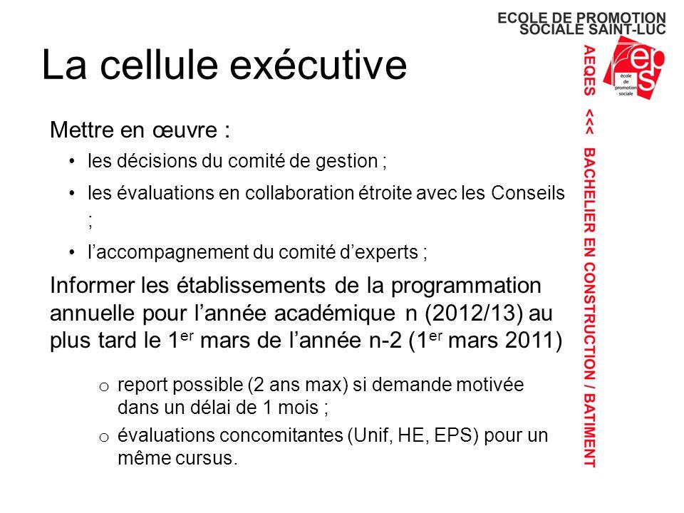 La cellule exécutive Mettre en œuvre :
