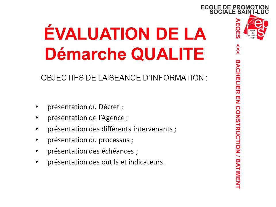 évaluation DE LA Démarche QUALITE OBJECTIFS DE LA SEANCE D'INFORMATION :