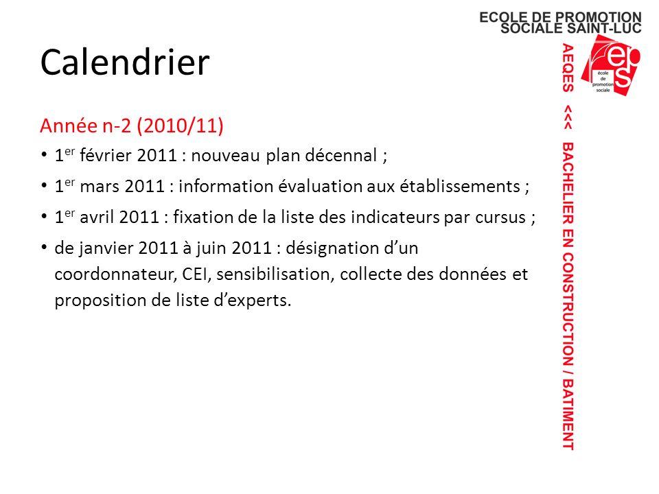Calendrier Année n-2 (2010/11)