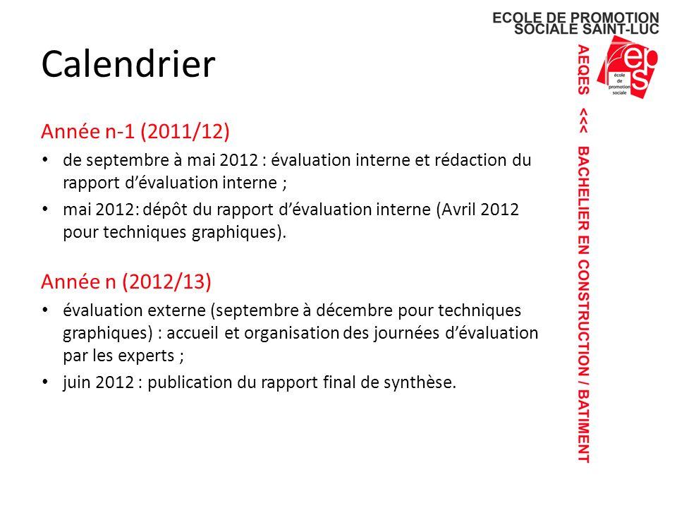 Calendrier Année n-1 (2011/12) Année n (2012/13)